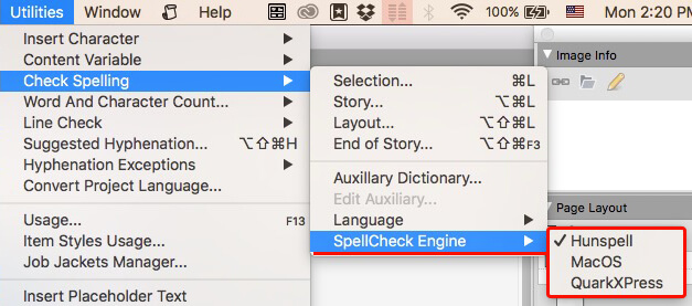 QuarkXPress spellChecker